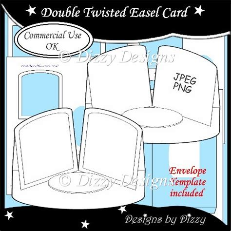 Easel Card Template by Twisted Easel Card Template 163 3 00 Instant Card