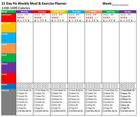 21dayfix meal exercise planners single sheet for the