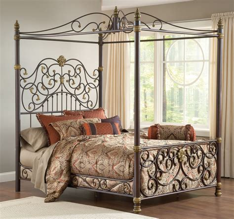 gothic canopy bed scrolled brown gold metal canopy bed frame gothic romantic