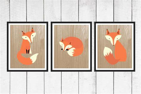 Fox Nursery Decor Fox Nursery Decor 3 Set Fox Print Trio On Faux Wood