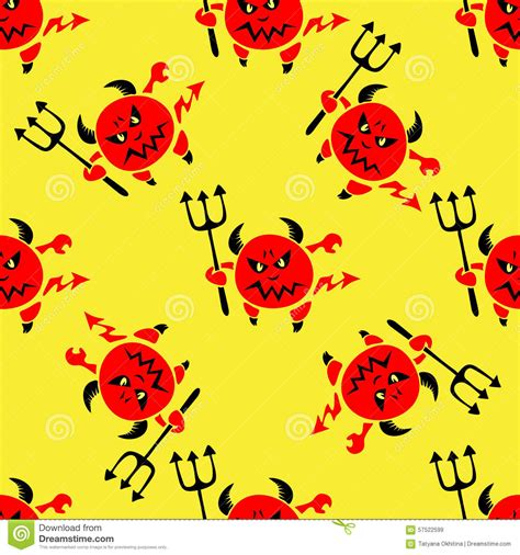 yellow devil pattern devil with trident seamless pattern