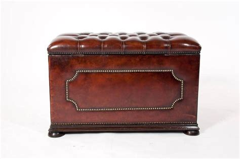 vintage leather ottoman antique leather upholstered ottoman at 1stdibs