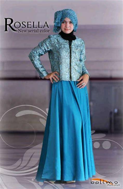 Balimo Blue rosella blue t baju muslim gamis modern