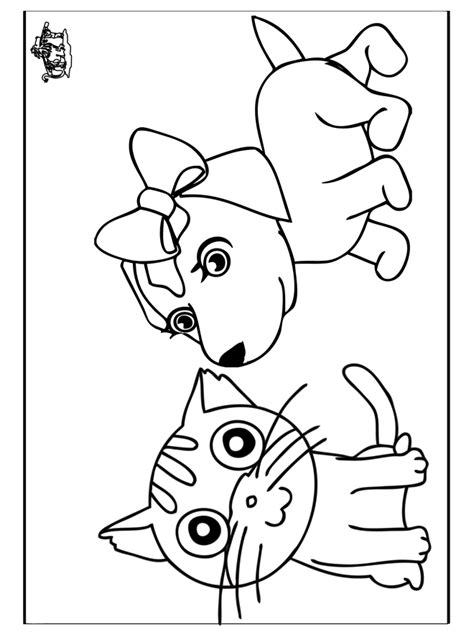 coloring pages with dogs and cats cat and coloring pages