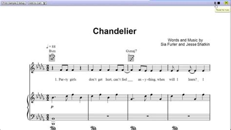 Sia Chandelier Chords Chandelier By Sia Piano Sheet Teaser