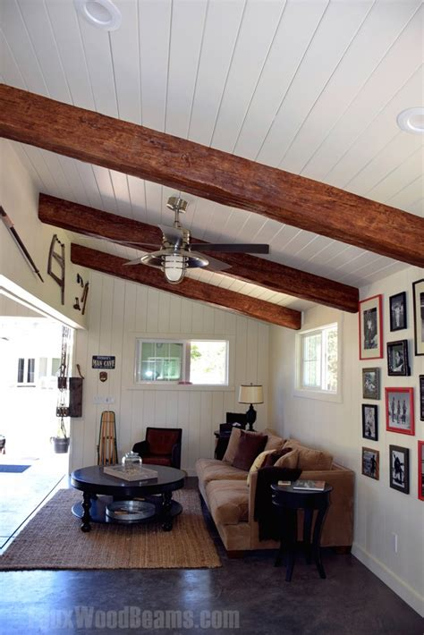 vaulted ceiling beams vaulted ceilings with exposed beams faux wood workshop