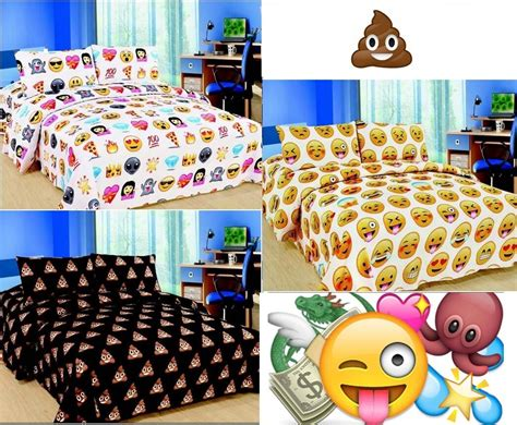 Bed Emoji by Emoji Emotion Pooh Smiley Faces Pizza Duvet Cover Bedding