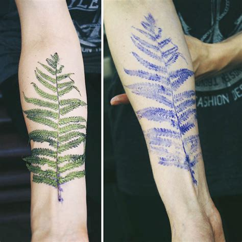 tattoo artist uses real leaves and flowers as stencils to