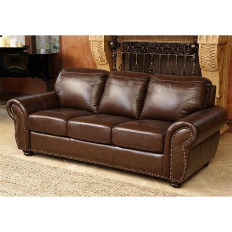 abbyson leather sofa abbyson living elm leather sofa in brown sk 24602 brn 3
