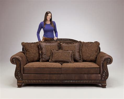 Leather Sofas World Truffle Traditional Sofa Set World Wood Trim Cozy Fabric Living Room Wood Trim And