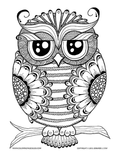 stress relief coloring pages easy owl coloring page for adults stress relief owl and bliss