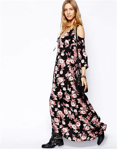 Cold Shoulder Maxi Dress lyst flynn cold shoulder maxi dress in pretty pink