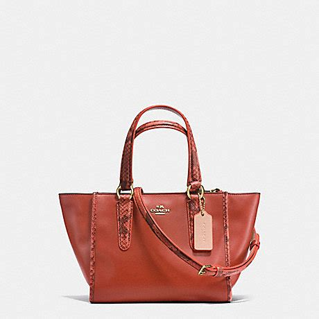 Coach Mini Crosby 21 Terracota crosby carryall 21 in refined leather with python embossed leather trim f20895