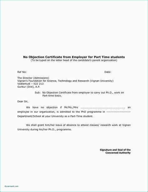 objection certificate request letter license
