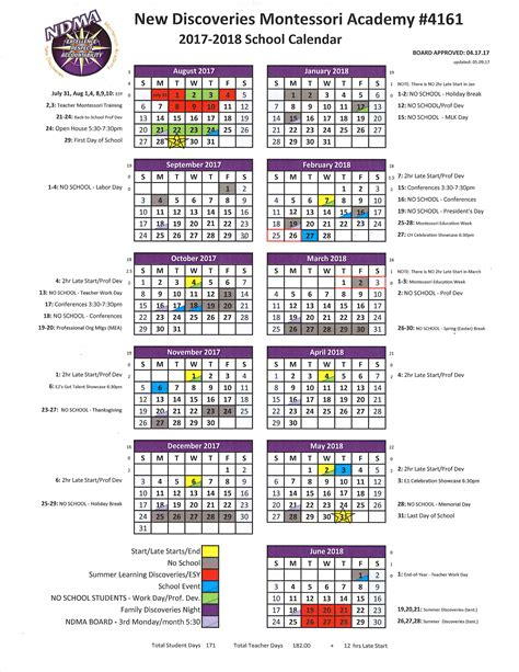 printable calendar 2017 school year 2017 2018 school year calendar