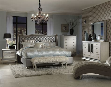 Bedroom Collection Furniture Aico Hollywood Swank Upholstered Bedroom Set