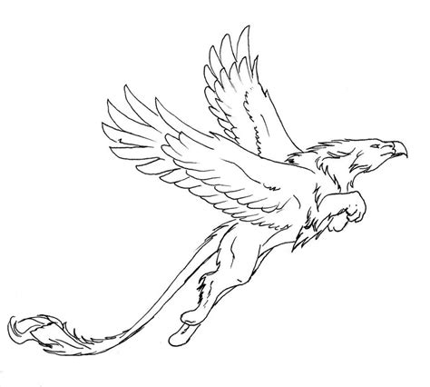 jumping griffon lineart by thunderboltfire on deviantart