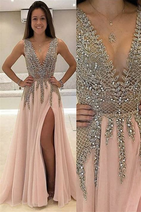 dress with beading a line v neck floor length pink tulle prom dress with beading