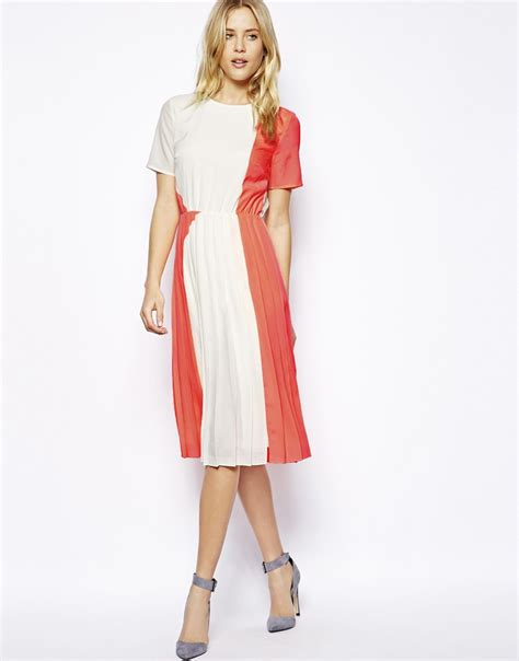 Dress Anak 1 3 T lyst asos t shirt pleated midi dress in orange