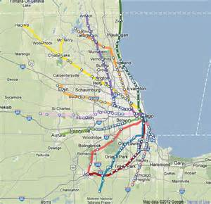 Chicago Metra Train Map by Illinois Metra Map