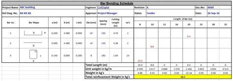 bar bending schedule bbs bbs step  step preparation sample excel sheet civildigital