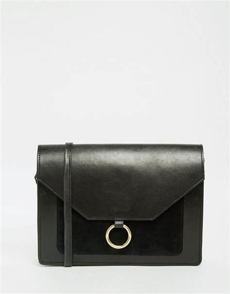 metal ring crossbody bag asos asos vintage leather cross bag with metal ring