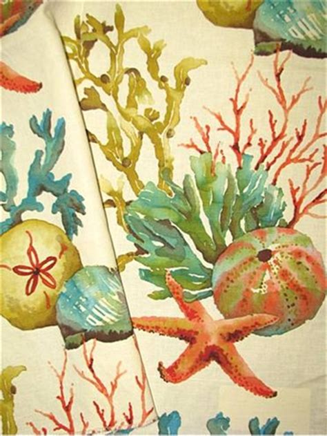 watercolor upholstery fabric sealife watercolor washed multi watercolor coral sea life