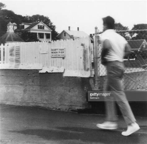 Chappaquiddick Report Senator Edward Kennedy Hurries As He Leaves The