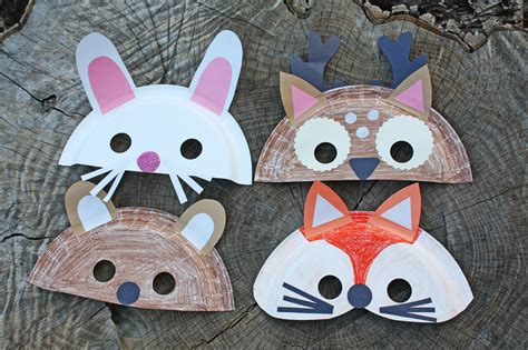 Mask Craft Paper Plate - woodland creature paper plate masks
