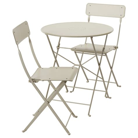 Outdoor Patio Tables And Chairs Saltholmen Table 2 Folding Chairs Outdoor Beige Ikea