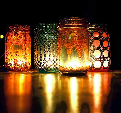 Diy Lantern Lights Bohemian Hanging Lantern Jar Candle Holder With By Litdecor