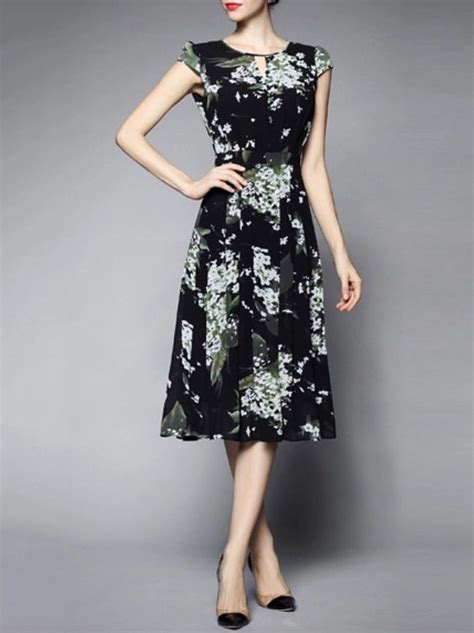 Dress Midi Vb Flower blue polyester printed sleeve midi dress