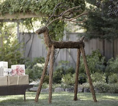 outdoor lit led twig deer pottery barn