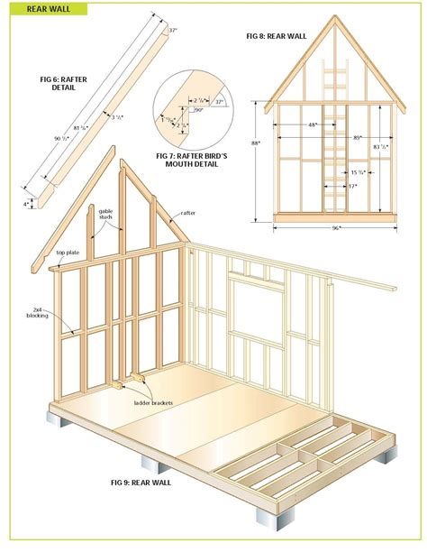 free cottage bunkie cabin plans house plan storage shed