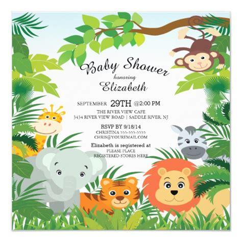 Cute Jungle Safari Baby Shower Invitations Zazzle Com Jungle Animal Invitation Templates
