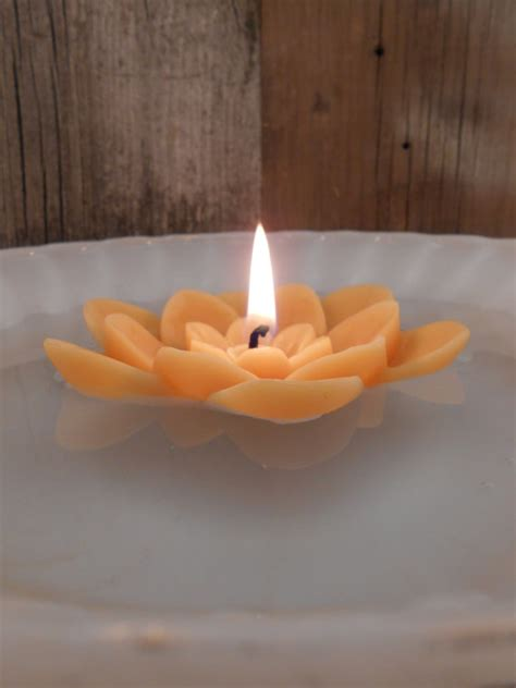 Handmade Beeswax Candles - handmade beeswax candle floating lotus flower