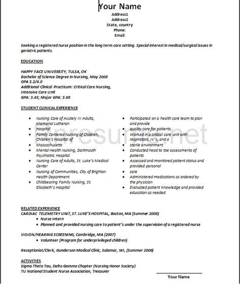 new grad resume template student nurse resume examples best rn