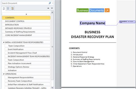business continuity plan template uk disaster recovery plan template essential preparation