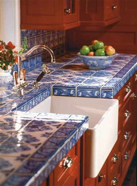 Blue Tile Kitchen Countertop d 233 cor trend 24 tile kitchen countertops digsdigs