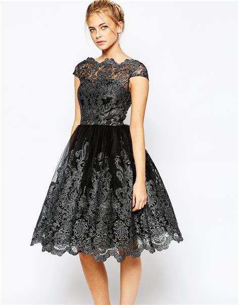 Lace Midi Dress Bysi lyst chi chi premium metallic lace midi prom dress with bardot neck in metallic