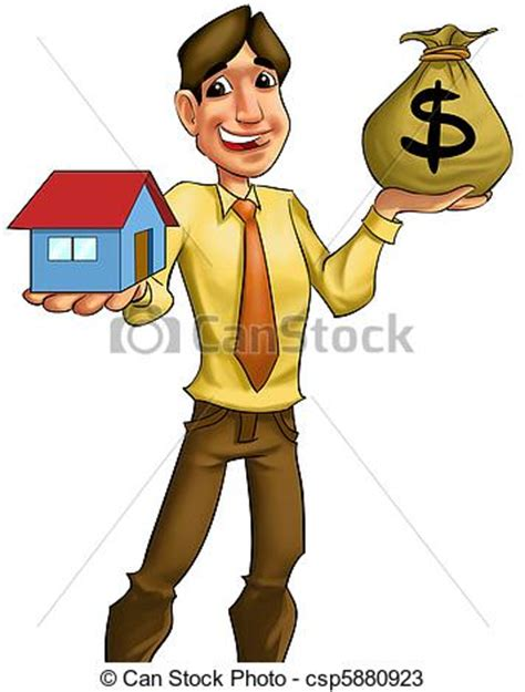 who can help me buy a house with bad credit drawings of buying a house young man with a bag of money going to sell csp5880923