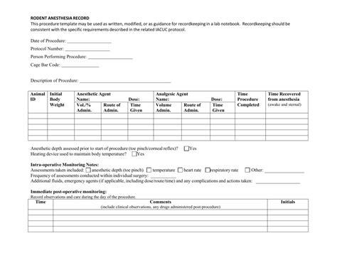 Beautiful Veterinary Anesthesia Monitoring Log Xs37 Advancedmassagebysara Anesthesia Record Template Excel