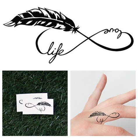 infinity feather symbol temporary tattoo set of 2 by tattify
