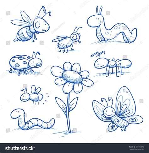 doodle bug worm set insects small stock vector