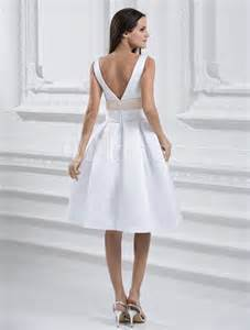 white knee length v neck sash satin wedding dress