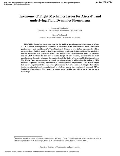 Dynamics Essay by Aiaa White Paper On Fluid Dynamics Challenges In Flight Mechanics