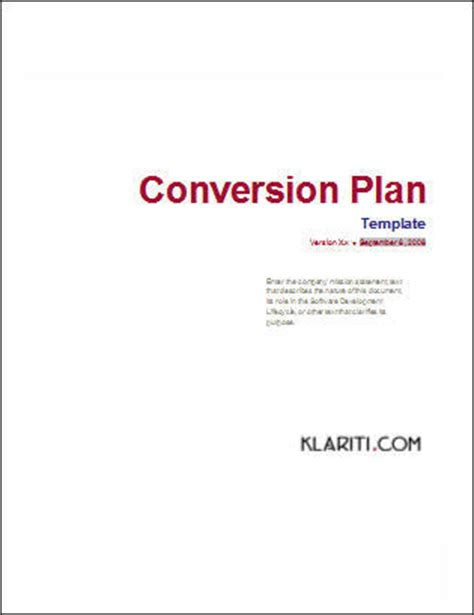 conversion plan template software software templates