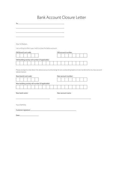 bank account closure letter templates