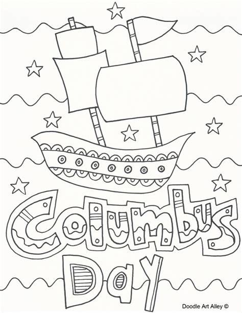 Columbus Day Coloring Pages Doodle Art Alley Imagenes De Columbus Day For Coloring