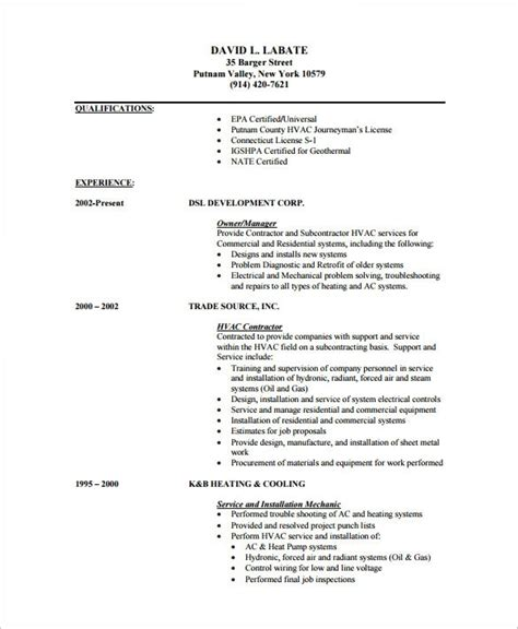 hvac resume exles hvac resume sle best professional resumes letters